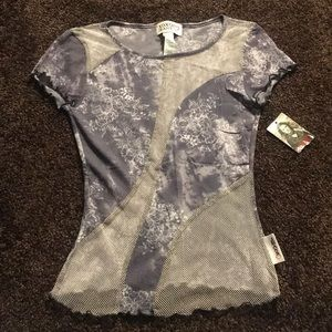 XOXO floral and mesh top - S - EUC